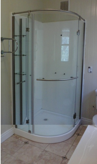 A space-saving shower